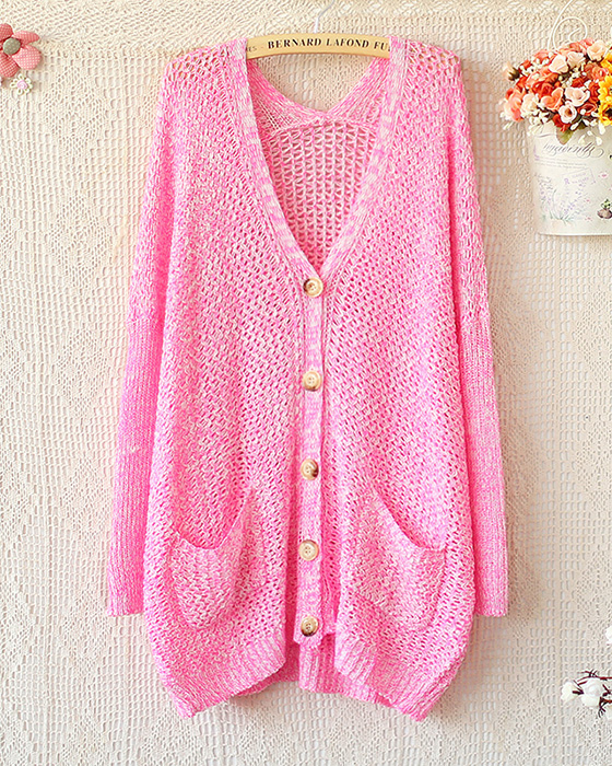 SPELL TO LOOSE V-NECK LONG SLEEVE KNIT SWEATER CARDIGAN Pink on Luulla